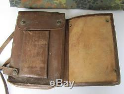 Wwii Original German Officer Leather Map Case With 1940 Military Map