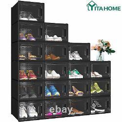 YITAHOME 18Pcs Shoe Storage Medium Transparent Organizer Stackable Sneaker Case